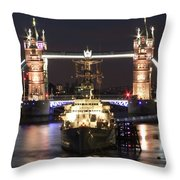 Tower Bridge And Hms Belfast Throw Pillow