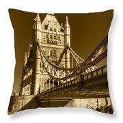 Tower Bridge In Sepia Throw Pillow