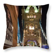 Tower Bridge Side Sign Throw Pillow