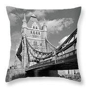 Tower Bridge Vertical Black And White Throw Pillow