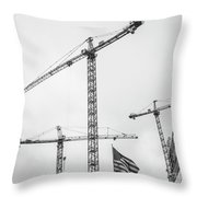 Tower Cranes Bw Construction Art Throw Pillow