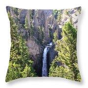 Tower Fall Yellowstone Throw Pillow