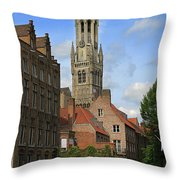 Tower Of The Belfrey From The Canal At Rozenhoedkaai Throw Pillow