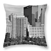 Tower Over Pittsburgh In Black And White Throw Pillow