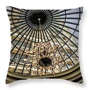 Tower Through Glass Dome In Bellagio Ceiling Throw Pillow