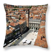 Tower View Of Piazza Delle Erbe In Verona Italy Throw Pillow