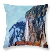 Towering Cliffs And Houses Throw Pillow
