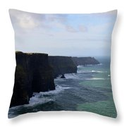 Towering Sea Cliffs In Ireland's County Clare Throw Pillow