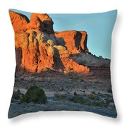 Towers Along Park Road In Arches Np Throw Pillow by Ray Mathis