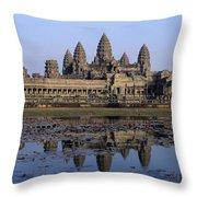 Towers Of Angkor Wat And Lake Throw Pillow