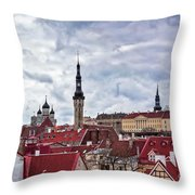 Towers Of The Tallinn Old Town Throw Pillow