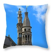 Towers Of The Town Hall In Bruges Belgium Throw Pillow