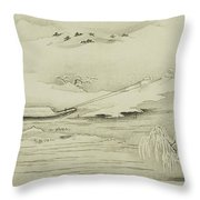 Towing A Barge In The Snow Throw Pillow