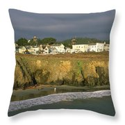 Town At The Seaside, Mendocino Throw Pillow