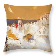 Town At The Seaside Throw Pillow