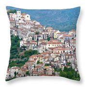 Town Clinging To A Hill Top In Southern Italy Throw Pillow