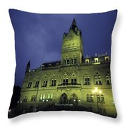 Town Hall At Night In Manchester Throw Pillow