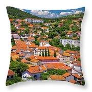 Town Of Drnis And Dalmatian Inland Panorama Throw Pillow