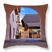 Town Of Kastelruth In Alps Street View Throw Pillow