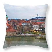 Town Of Maribor Riverfront Panoramic  Throw Pillow