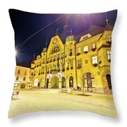 Town Of Ptuj Historic Main Square Evening View Throw Pillow