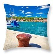 Town Of Tisno Harbor And Waterfront Throw Pillow