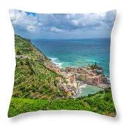Town Of Vernazza, Cinque Terre, Italy Throw Pillow