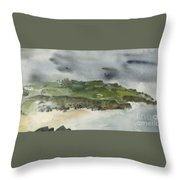 Town On Hill Throw Pillow