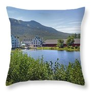 Town Square By The Pond At Waterville Valley Throw Pillow