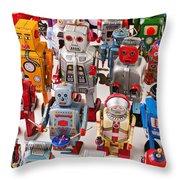 Toy Robots Throw Pillow