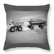 Toy Truck In Black And White Throw Pillow