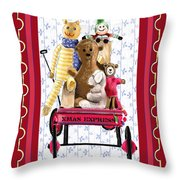 Toys In A Red Wagon Throw Pillow