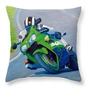 Track Day - Kawasaki Zx9 Throw Pillow