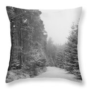 Track, Winter, Slaley Woods Throw Pillow