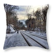 Tracks Into The Sunset Throw Pillow