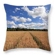 Tracks Through Wheat Field Throw Pillow