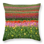 Tractor Among The Tulips Throw Pillow