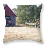 Tractor At A Wheat Field Throw Pillow