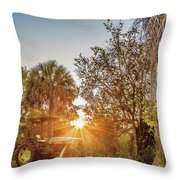 Tractor At Sunset Throw Pillow