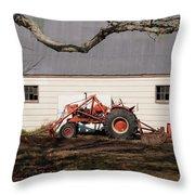 Tractor Barn Branch Throw Pillow