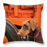 Tractor Dog Throw Pillow
