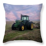Tractor In A Field - Early Morning Throw Pillow