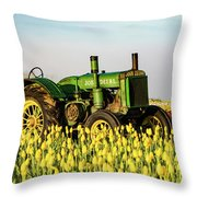 Tractor In A Field Throw Pillow