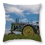Tractor In Field Throw Pillow