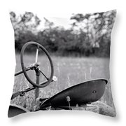 Tractor In Long Grass Throw Pillow