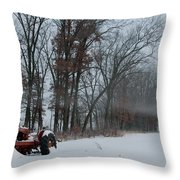 Tractor In The Fog Throw Pillow