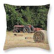 Tractor In The Hay Field Throw Pillow