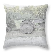 Tractor   Pencil Drawing Throw Pillow