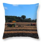 Tractors Competing Throw Pillow