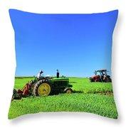 Tractors Working  Throw Pillow